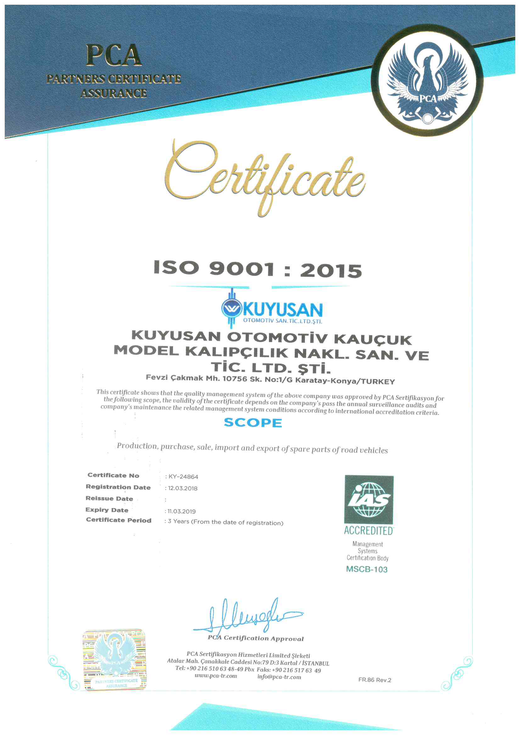 Certificat de qualité ISO 9001: 2015_1