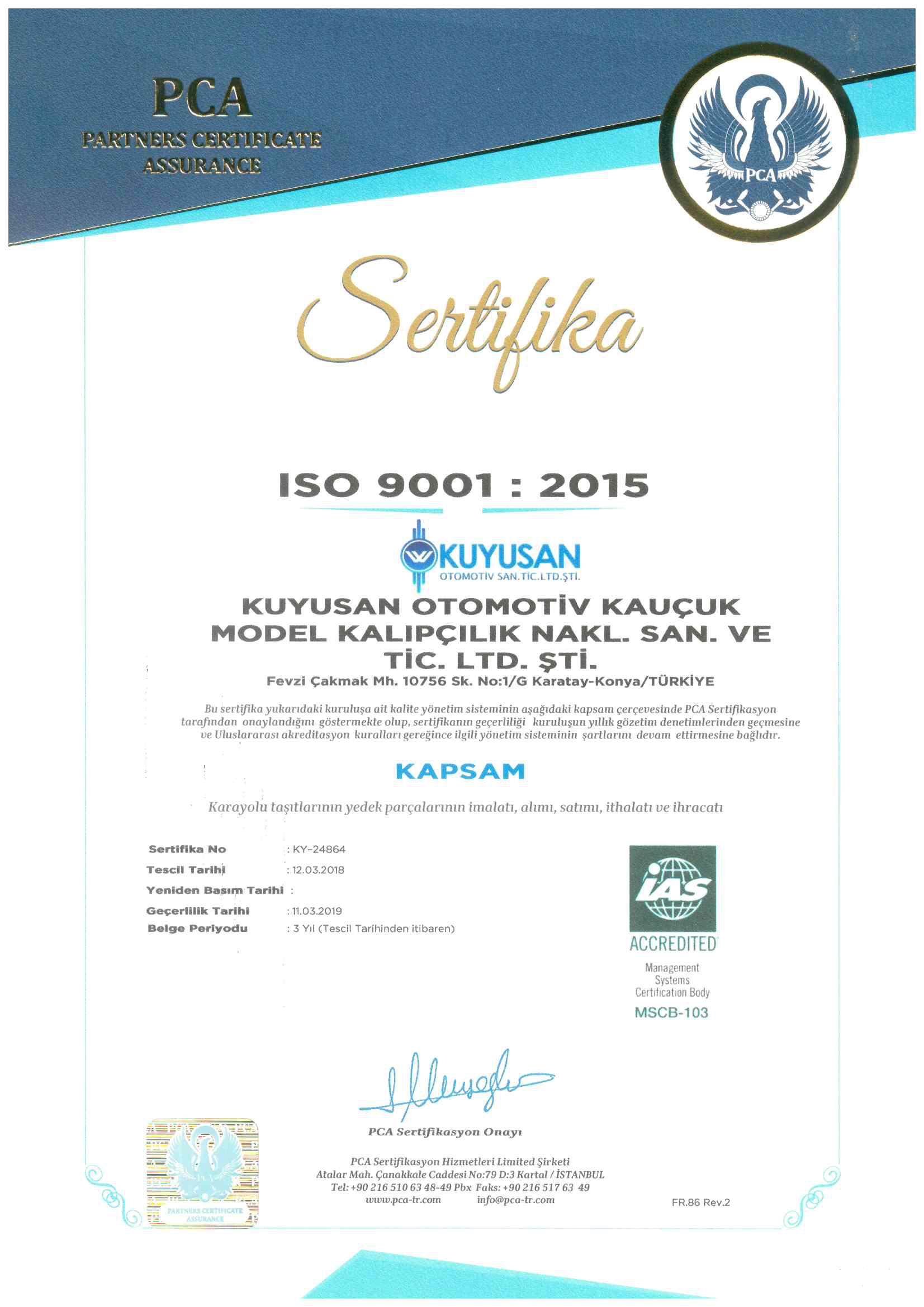 Certificado de calidad ISO 9001: 2015_0